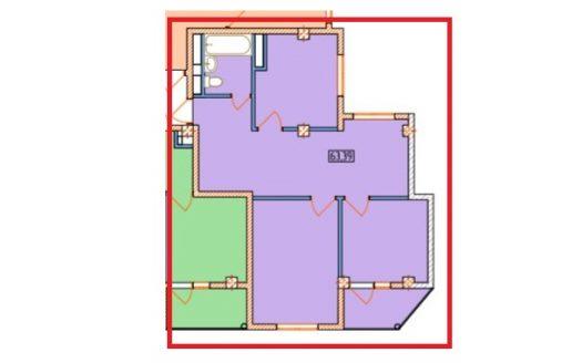 Планировка 3 комнатная квартира с балконом в ЖК Александрит Сочи
