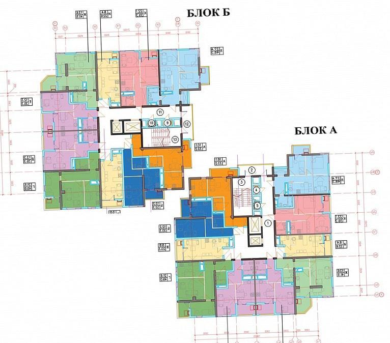 ЖК Голубые дали планировка квартир блок А блок Б