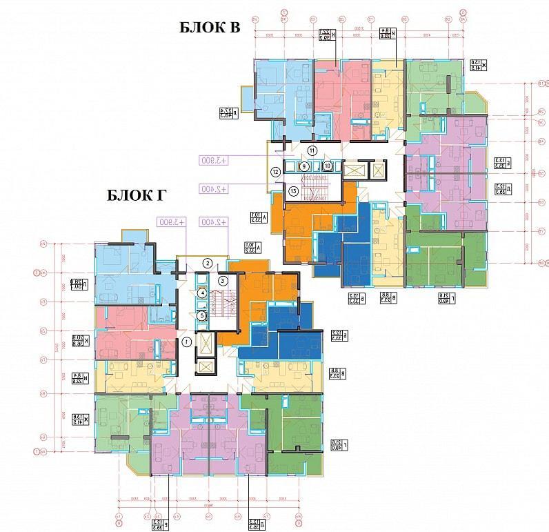 ЖК Голубые дали планировка квартир блок В блок Г