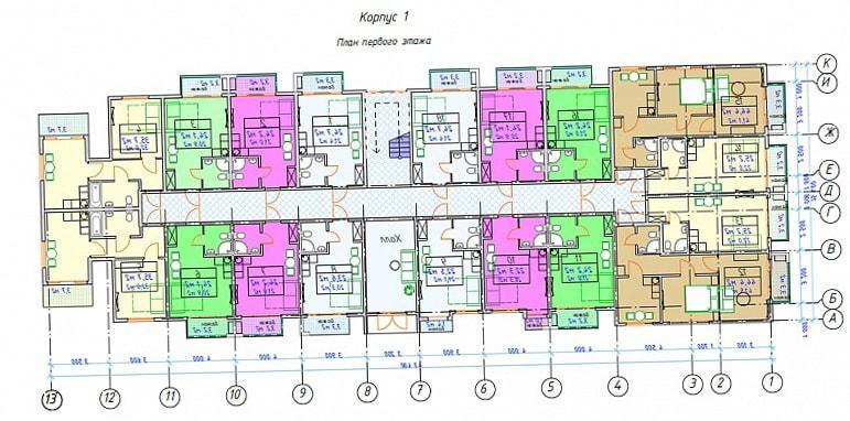 ЖК Мадрид Парк 2 План 1 этажа
