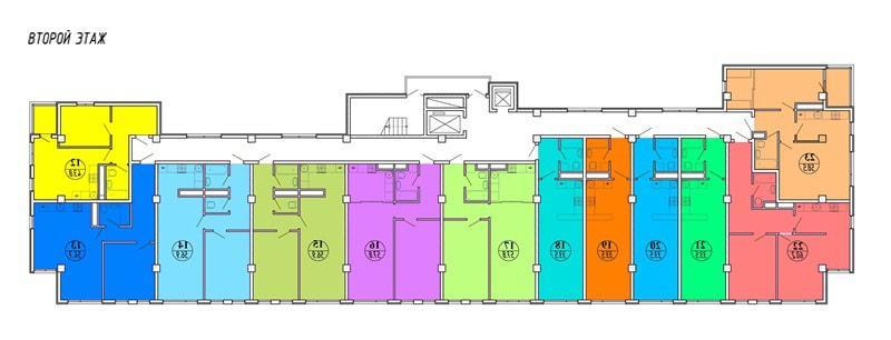 ЖК Шоколад Сочи - планировка квартир на 2-м этаже