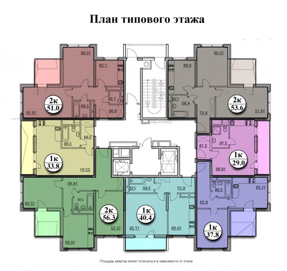 ЖК Три Капитана Сочи - план типового этажа