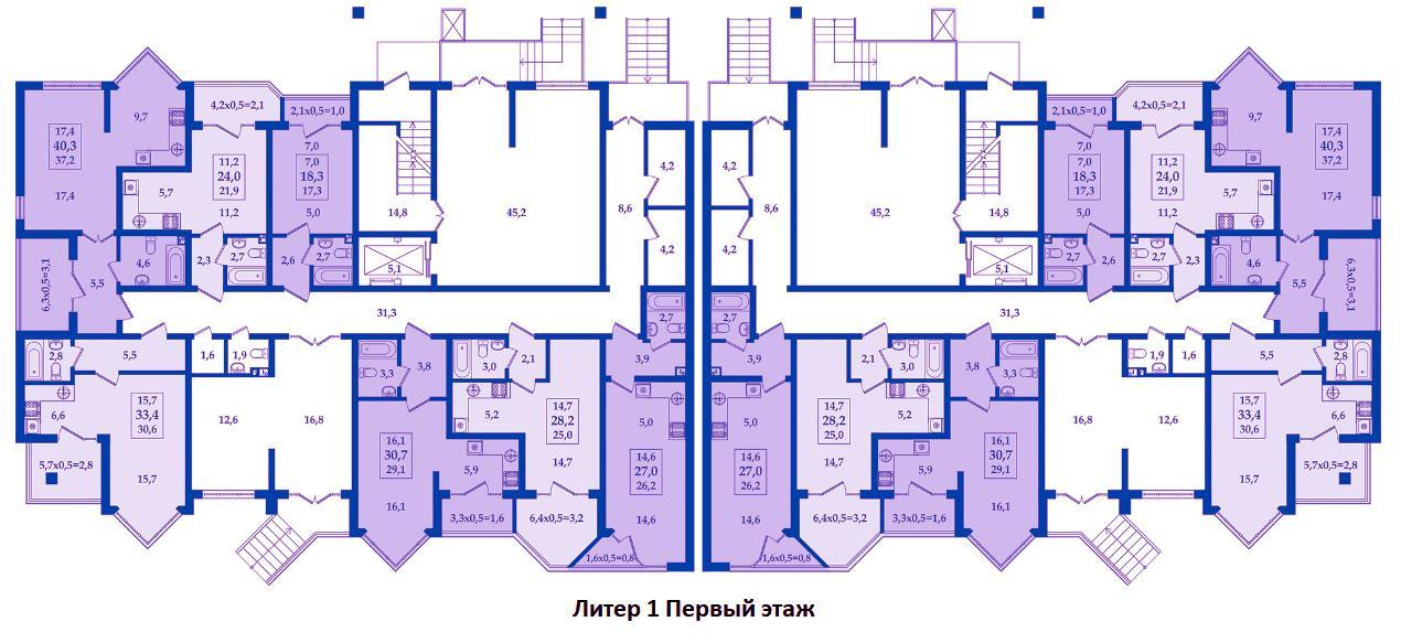 ЖК Жилой Квартал Литер 1 Этаж 1