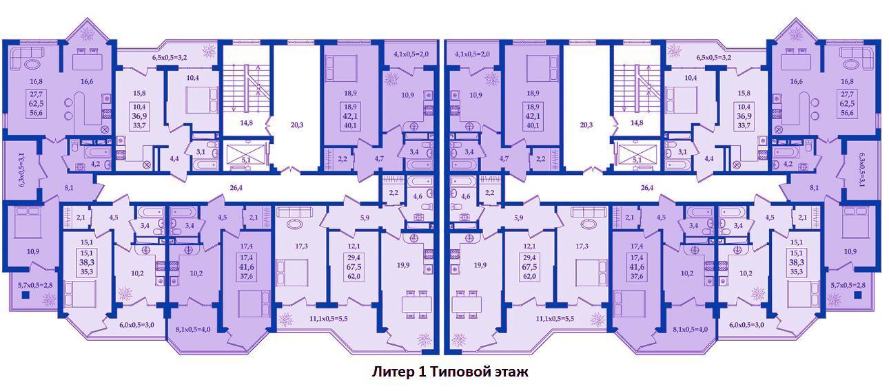 ЖК Жилой Квартал Литер 1. Типовой 1-й этаж