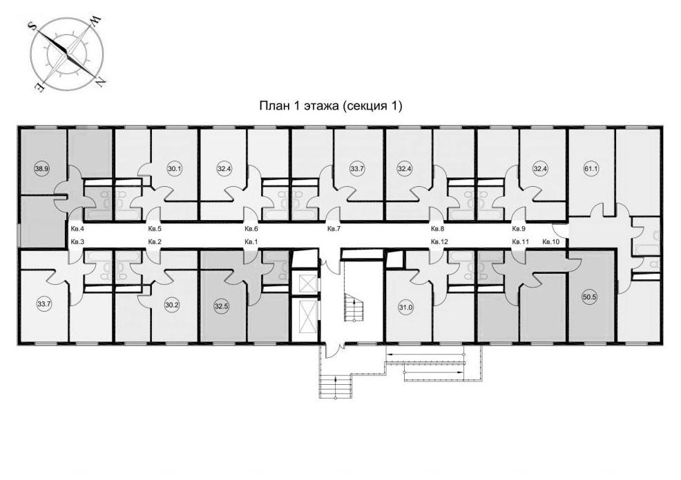 ЖК Звезда Лазаревское - планировка квартир Секция 1 Этаж 1