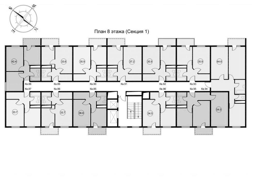 ЖК Звезда Лазаревское - планировка квартир Секция 1 Этаж 8
