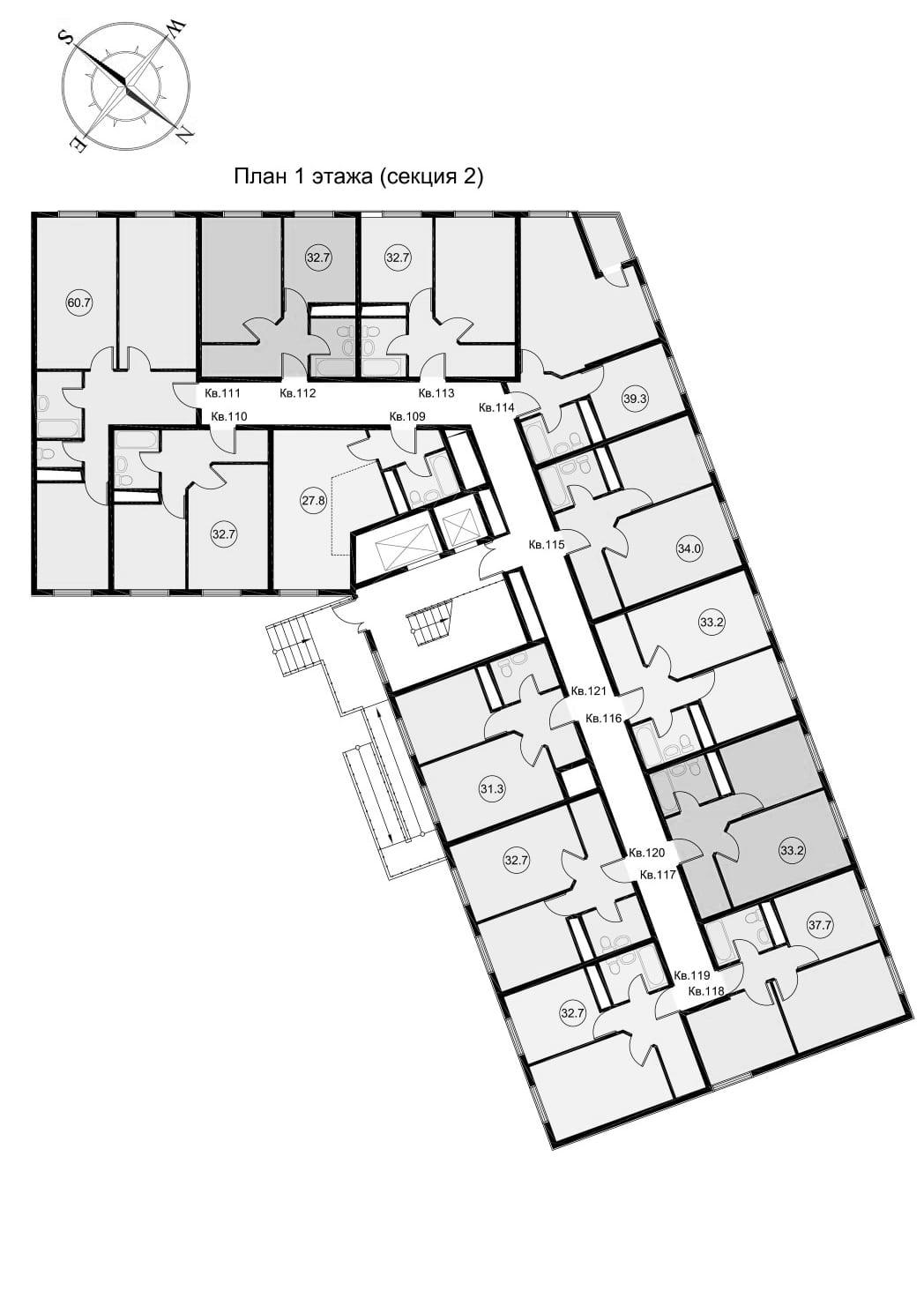 ЖК Звезда Лазаревское - планировка квартир Секция 2 Этаж 1