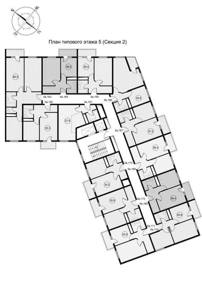 ЖК Звезда Лазаревское - планировка квартир Секция 2 Этаж 5 типовой