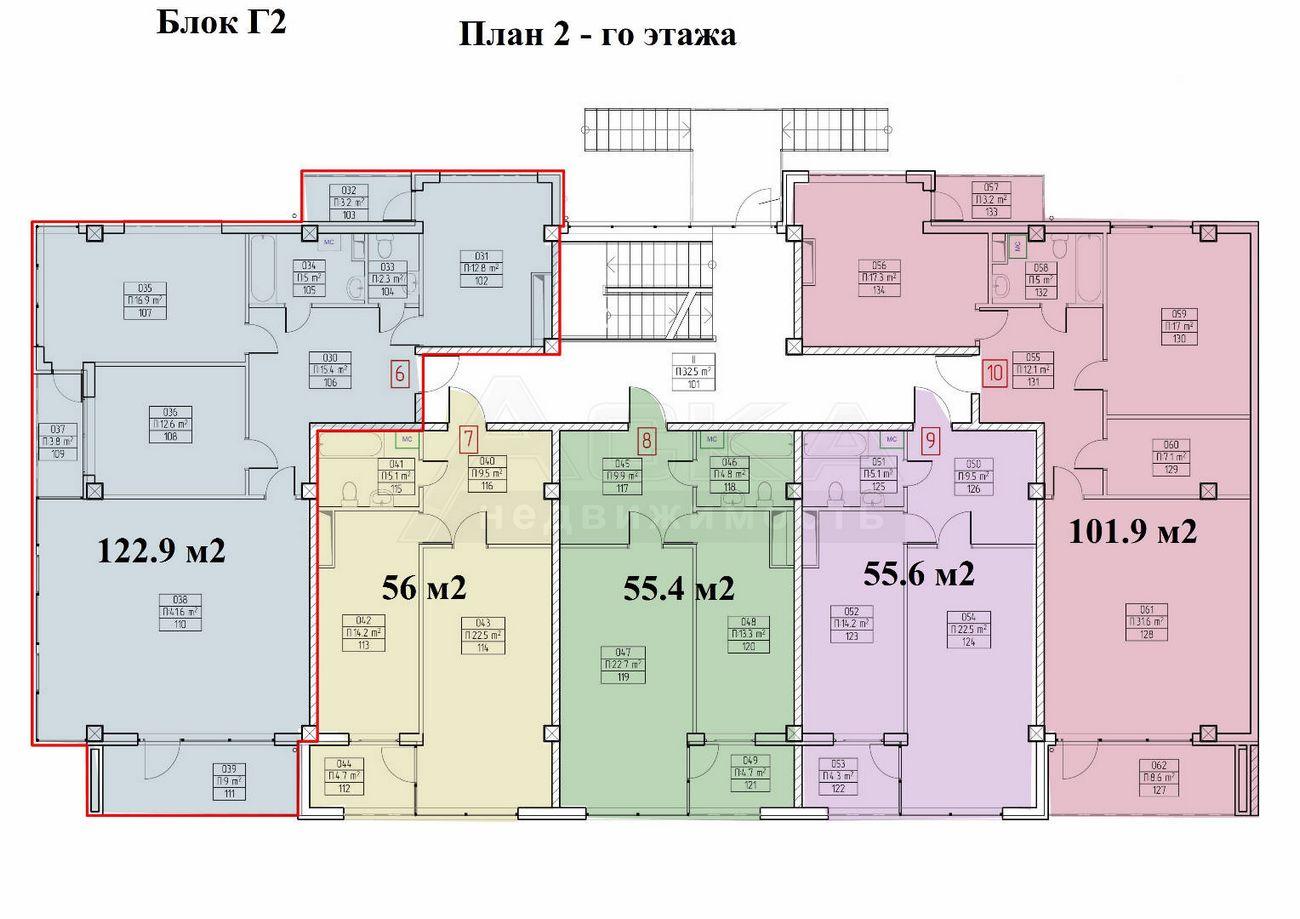 ЖК Аллея парк Дагомыс Блок Г2 План 2-го этажа
