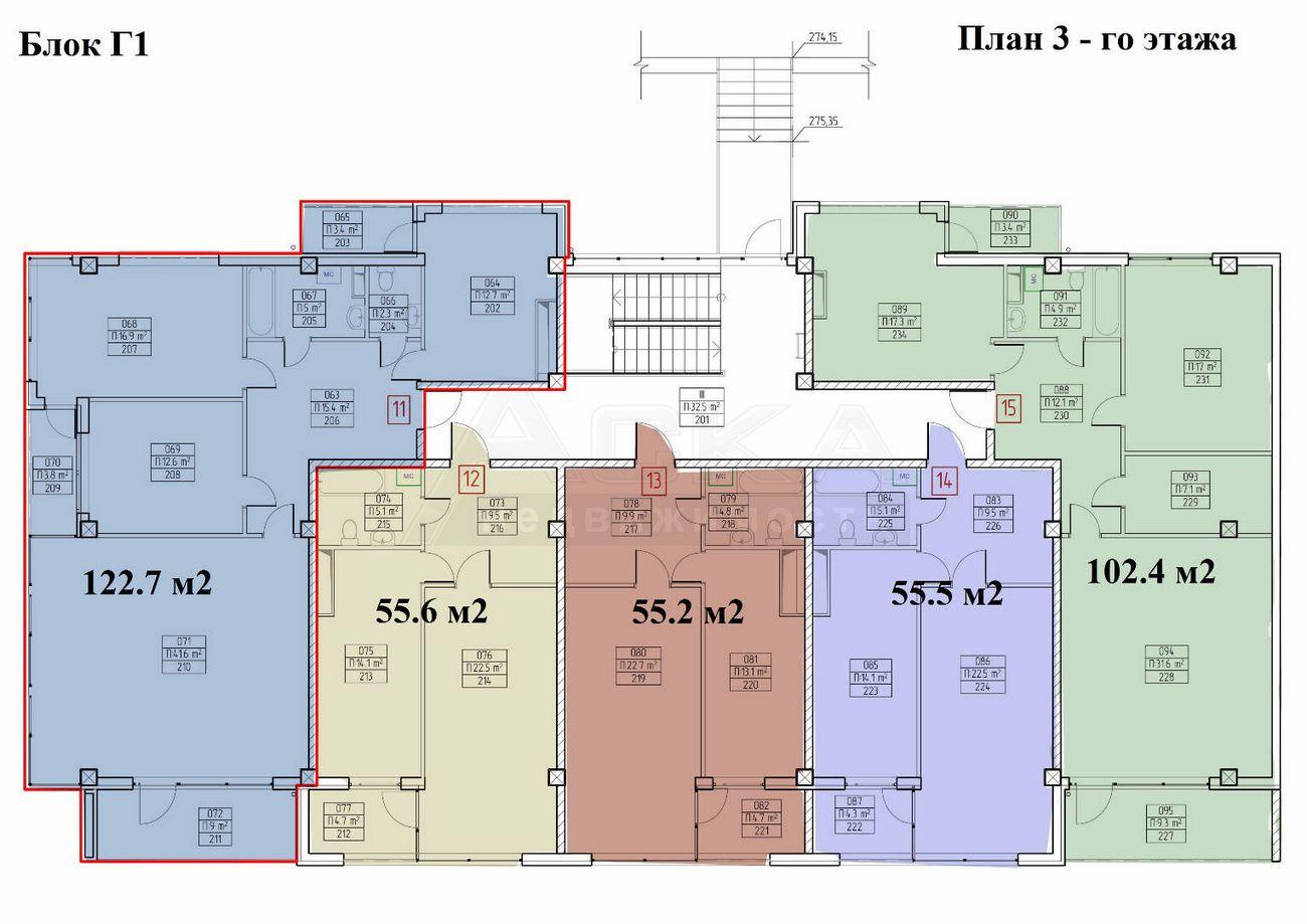 ЖК Аллея парк Дагомыс Блок Г1 План 3-го этажа