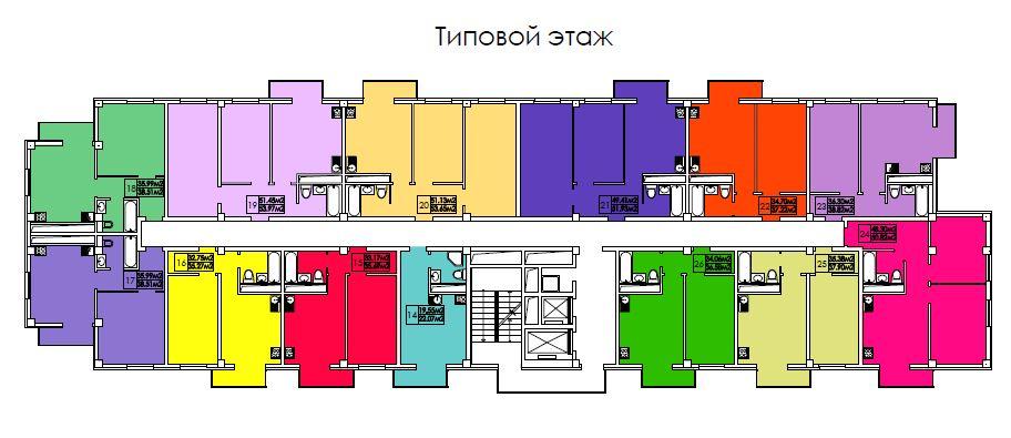 ЖК Гранд парк Сочи Планировка квартир Типовой этаж