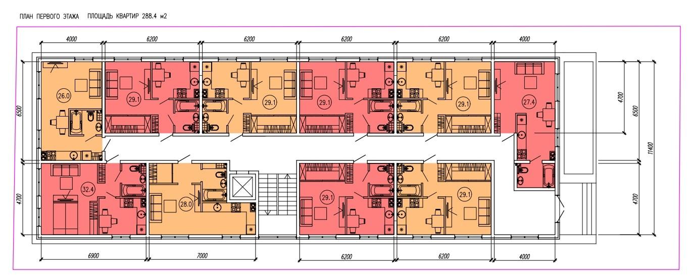 ЖК Голден-сити Адлер на Апрельской - План 1-го этажа