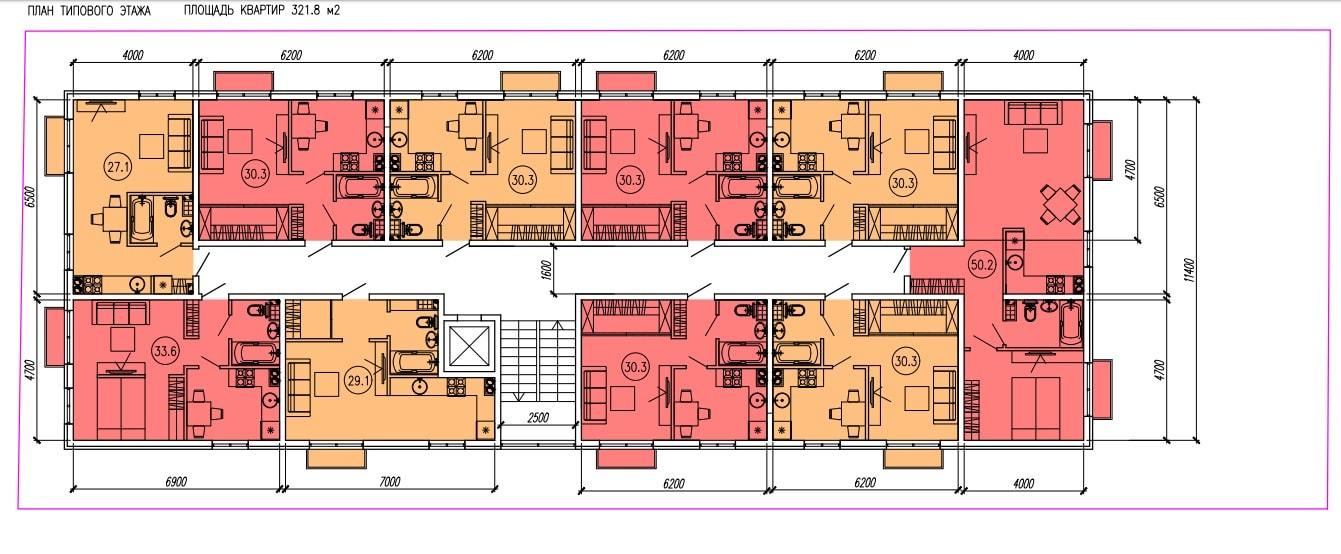 ЖК Голден-сити Адлер на Апрельской - План типового этажа