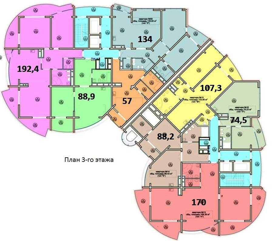 ЖК Морской дворец Сочи План 3-го этажа