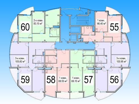 ЖК Нагорная 1 Планировка квартир 1