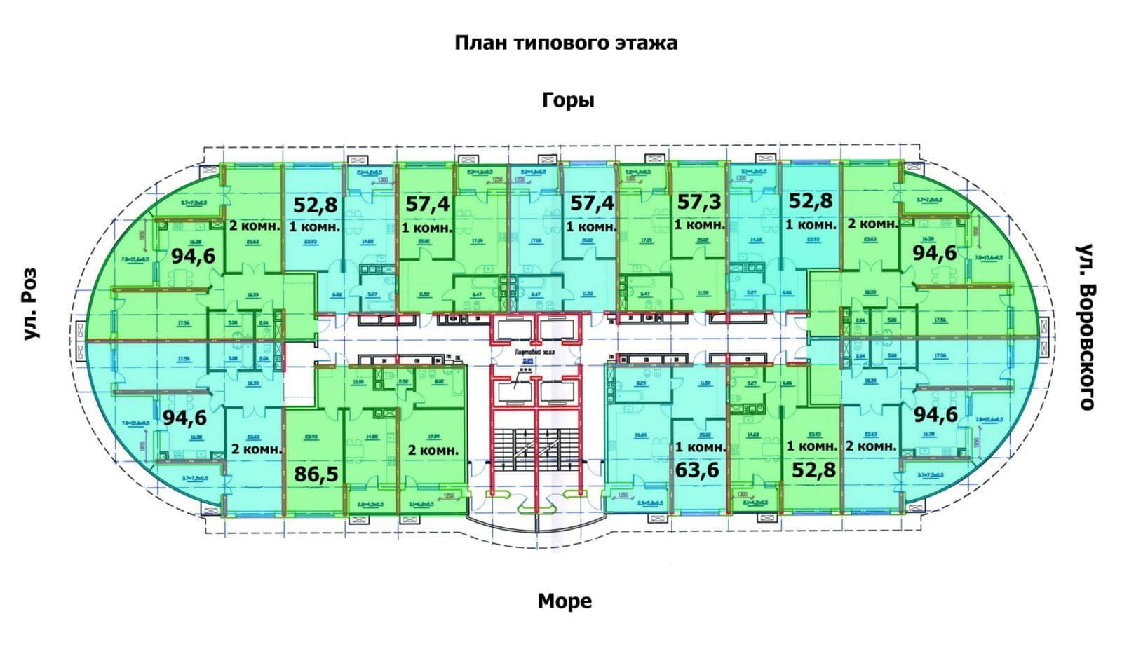 ЖК Олимпик плаза Типовой план этажа
