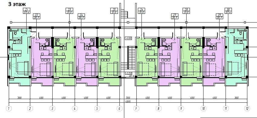 ЖК Sunny Hill Адлер План 3-го этажа