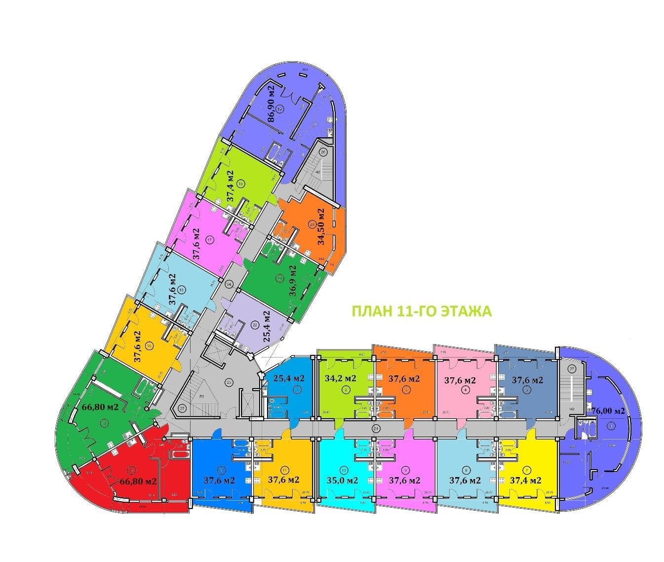 Крымский апартотель план 11 этажа
