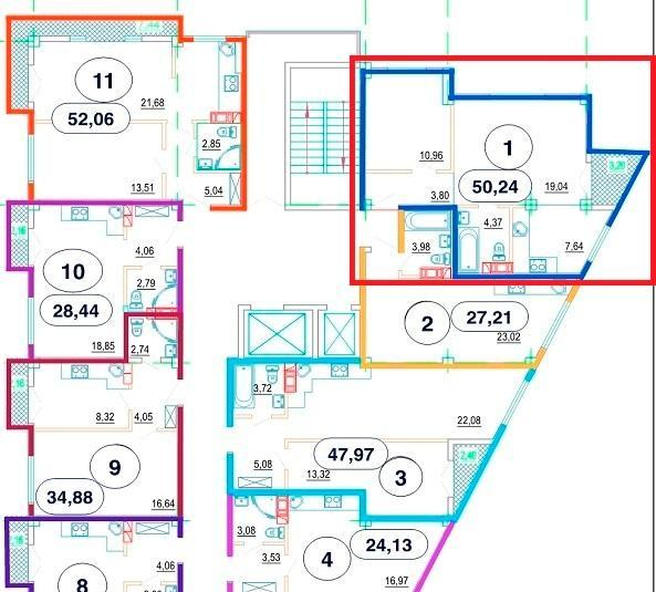 ЖК Рио де Мамайка План квартиры 50,24 кв. метра