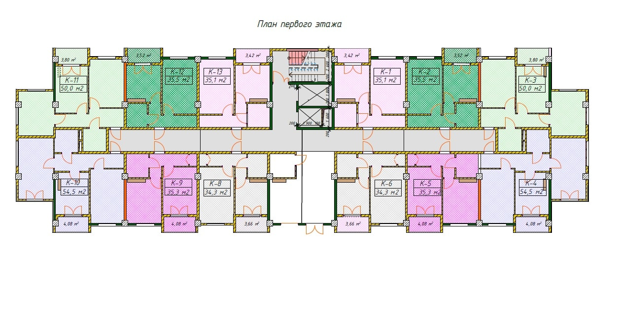 ЖК Фестивальный Сочи План 1-го коммерческого этажа