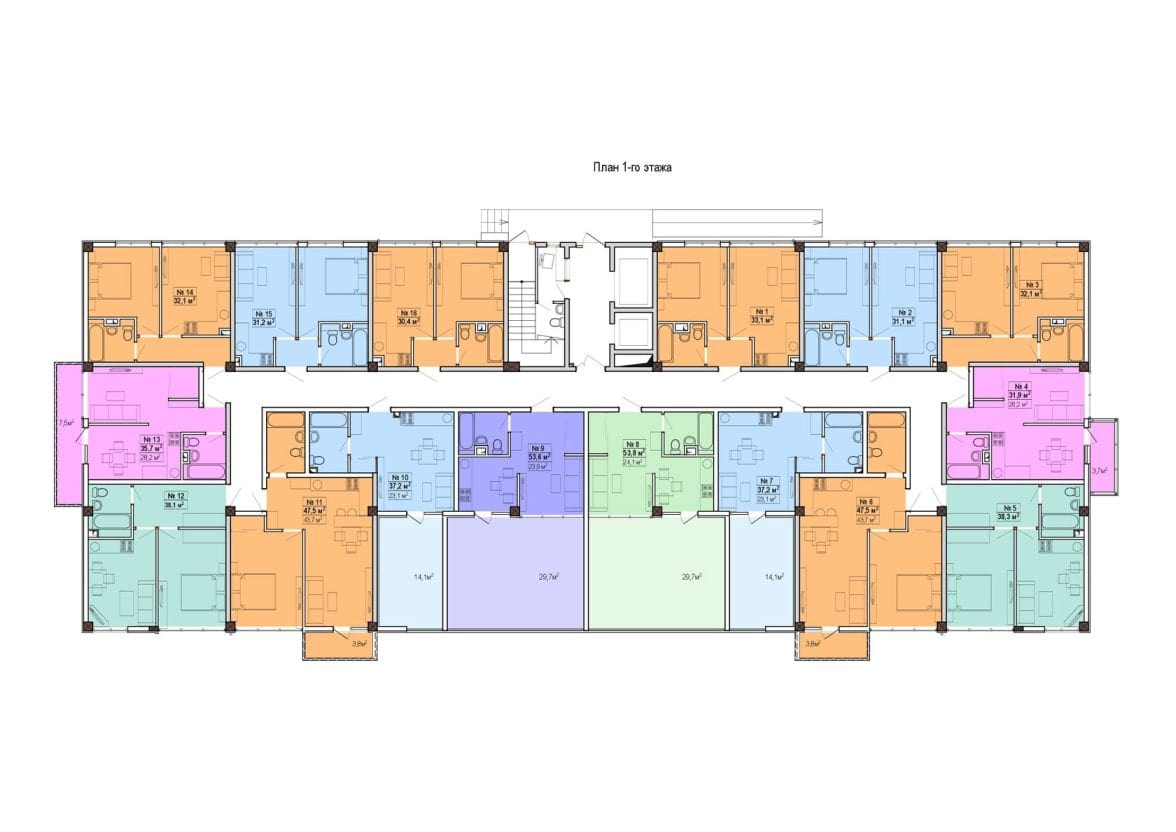 ЖК Мадрид 5 Сочи План 1-го этажа