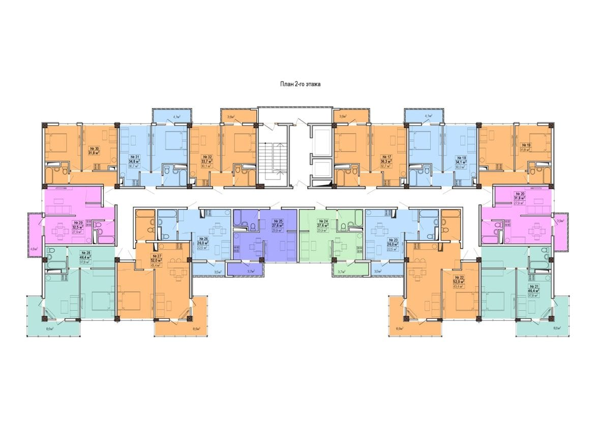 ЖК Мадрид 5 Сочи План 2-го этажа