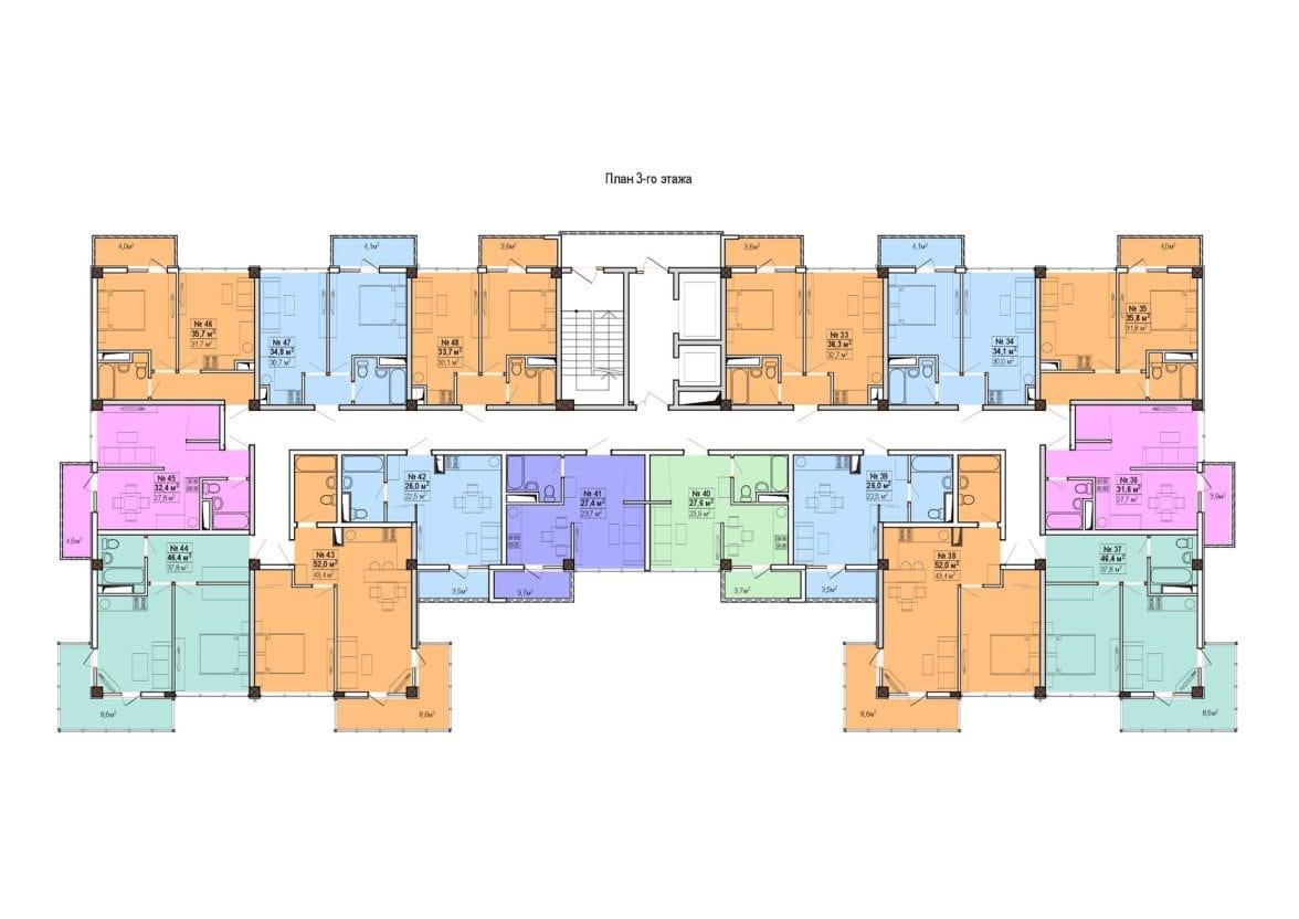 ЖК Мадрид 5 Сочи План 3-11-го этажей