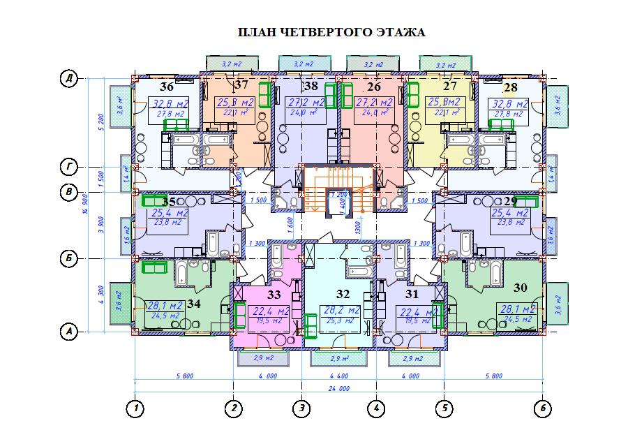 ЖК Милан План 4-го этажа