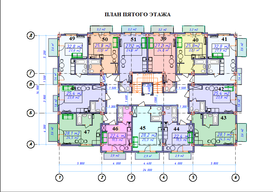 ЖК Милан План 5-го этажа