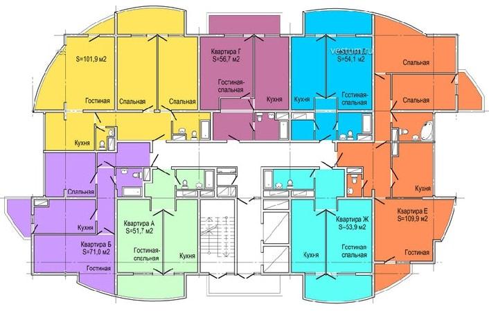 ЖК Парковая 3 Сочи Планировка квартир