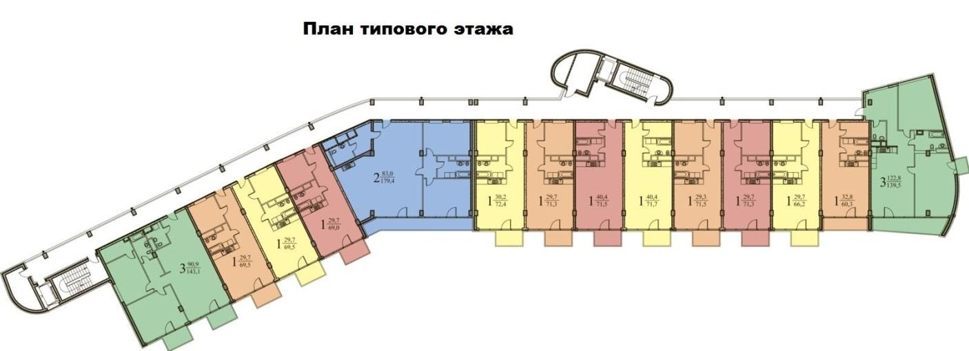 ЖК Парус Сочи План типового этажа