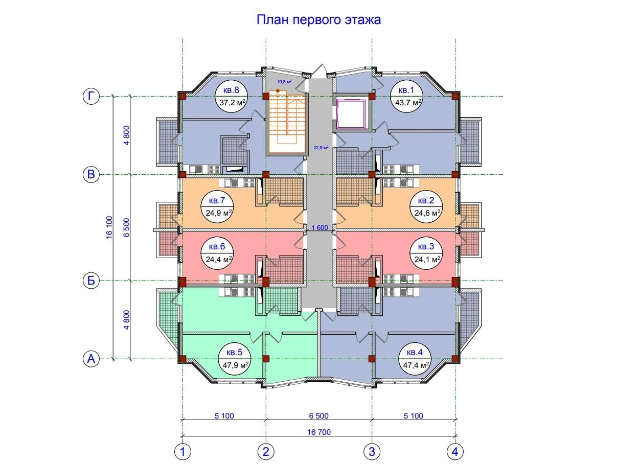 ЖК Прохладная долина План 1-го этажа