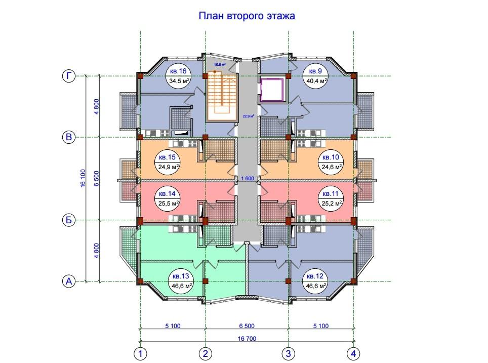 ЖК Прохладная долина План 2-го этажа Тип 1