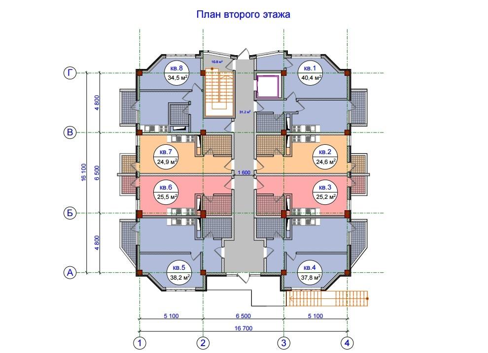 ЖК Прохладная долина План 2-го этажа Тип 2
