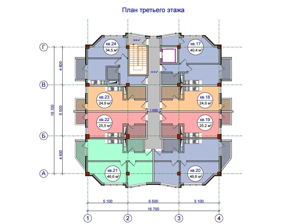 ЖК Прохладная долина План 3-го этажа