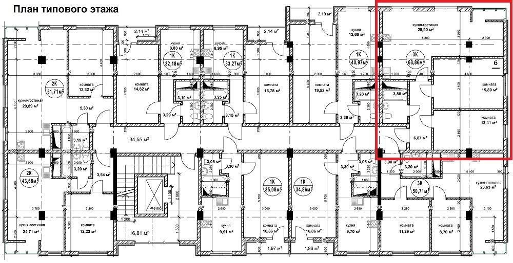 ЖК Гармония 2 Сочи - План 10-го этажа и квартира 68,9 кв. м.
