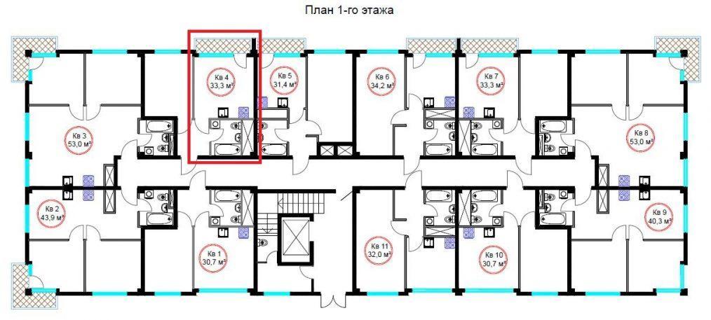 ЖК Гармония-4 Сочи - план 1-го этажа