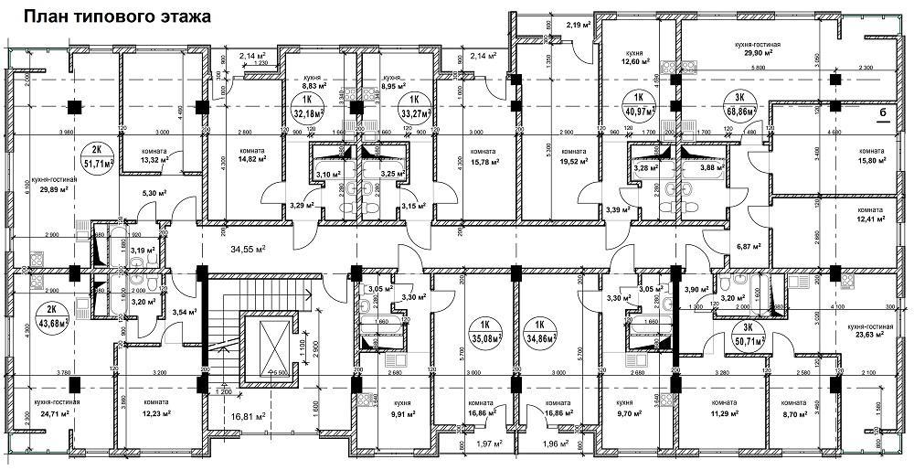 План типового этажа ЖК Гармония-2 Сочи