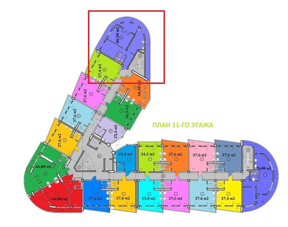Крымский апартотель - план 11-го этажа