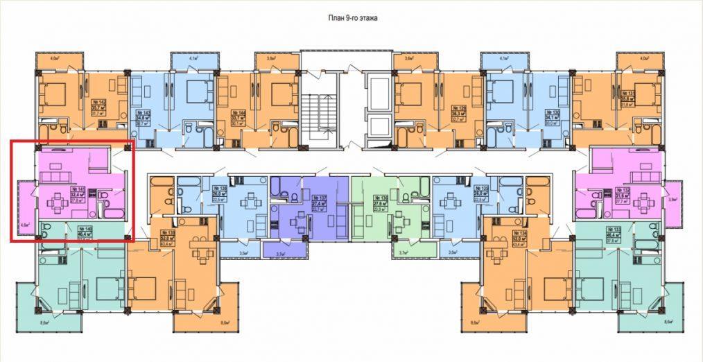 ЖК Мадрид 5 План 9-го этажа и квартиры 32,4 кв м