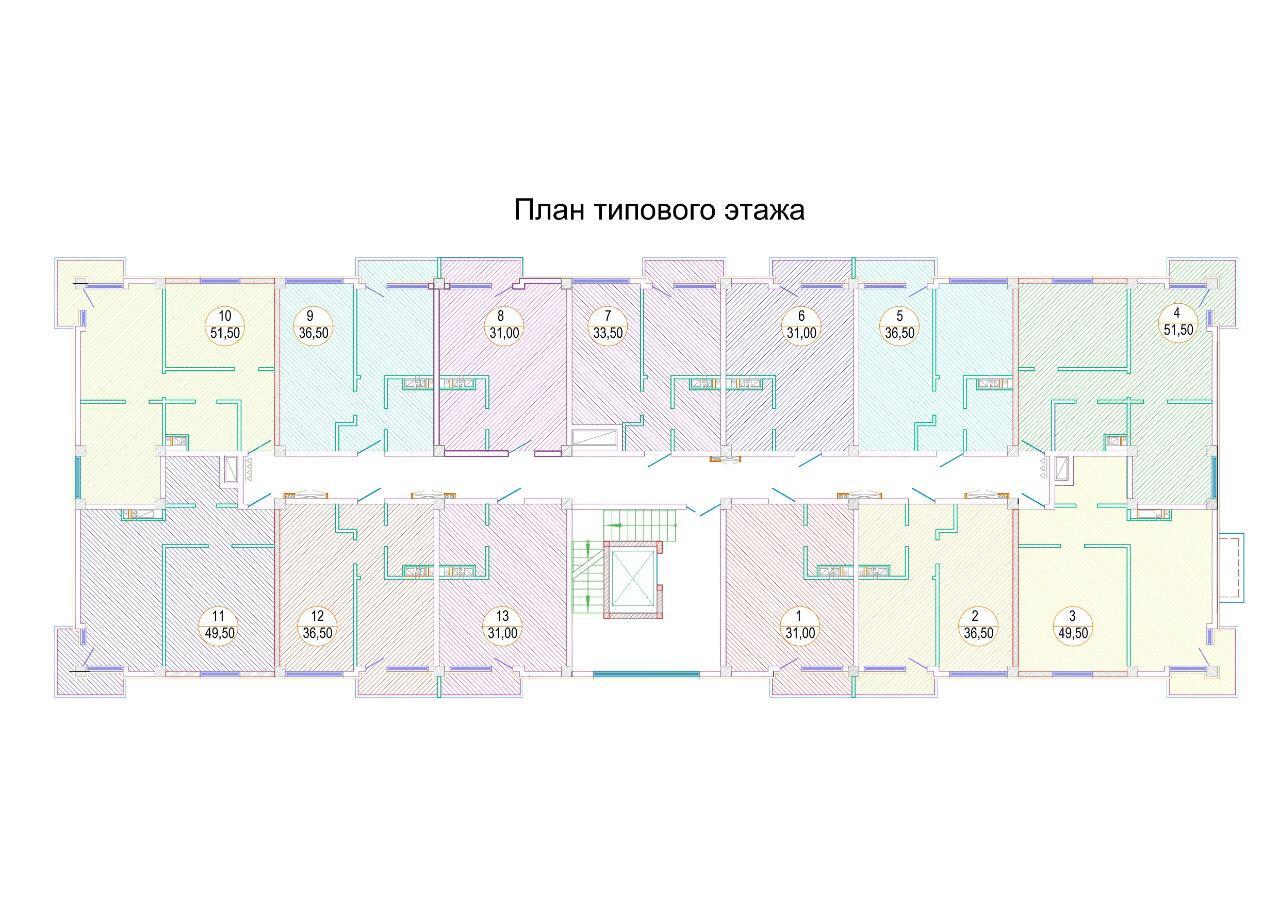 ЖК Каньон 3 Сочи План типового этажа