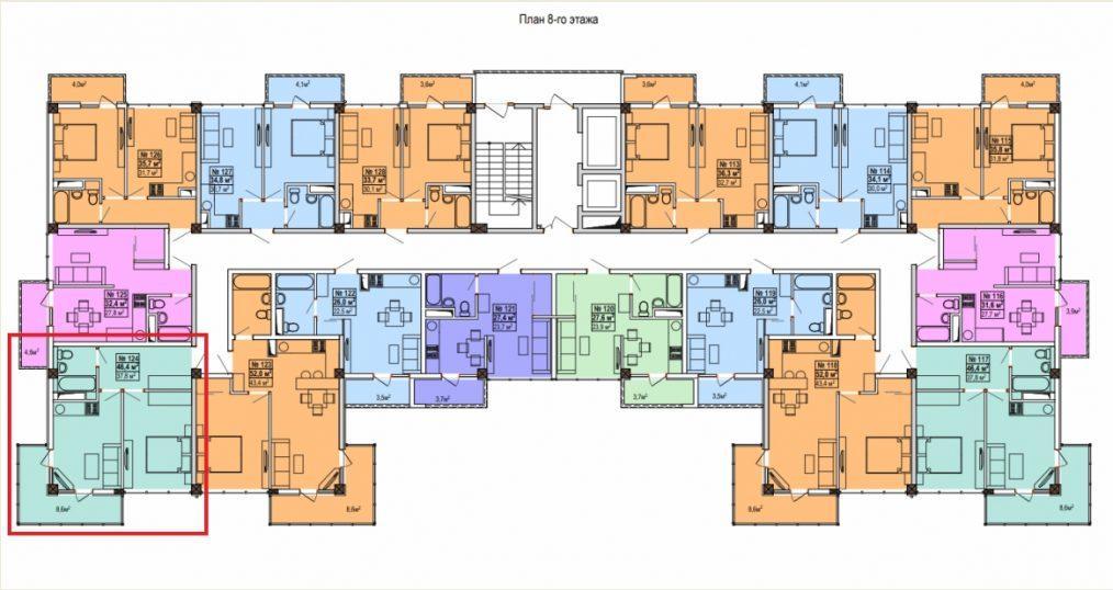 ЖК Мадрид 5 - План 8-го этажа