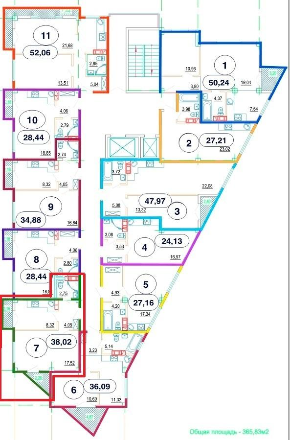 ЖК Рио де Мамайка План 9-го этажа