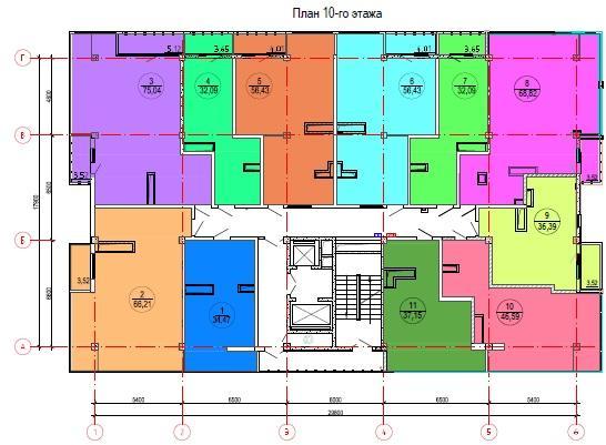 ЖК Лазурный берег Сочи План 10-го этажа