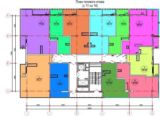 ЖК Лазурный берег Сочи План типового этажа с 11 по 14