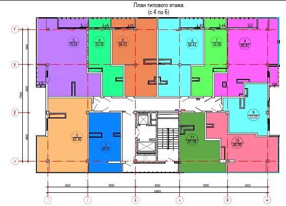 ЖК Лазурный берег Сочи План типового этажа с 4 по 6