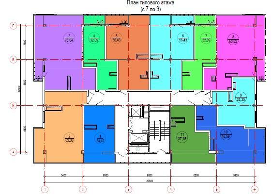 ЖК Лазурный берег Сочи План типового этажа с 7 по 9