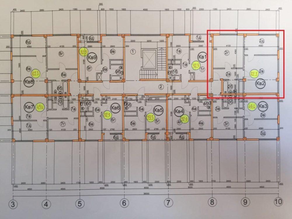 ЖК Гармония-3 Сочи План 9-го этажа