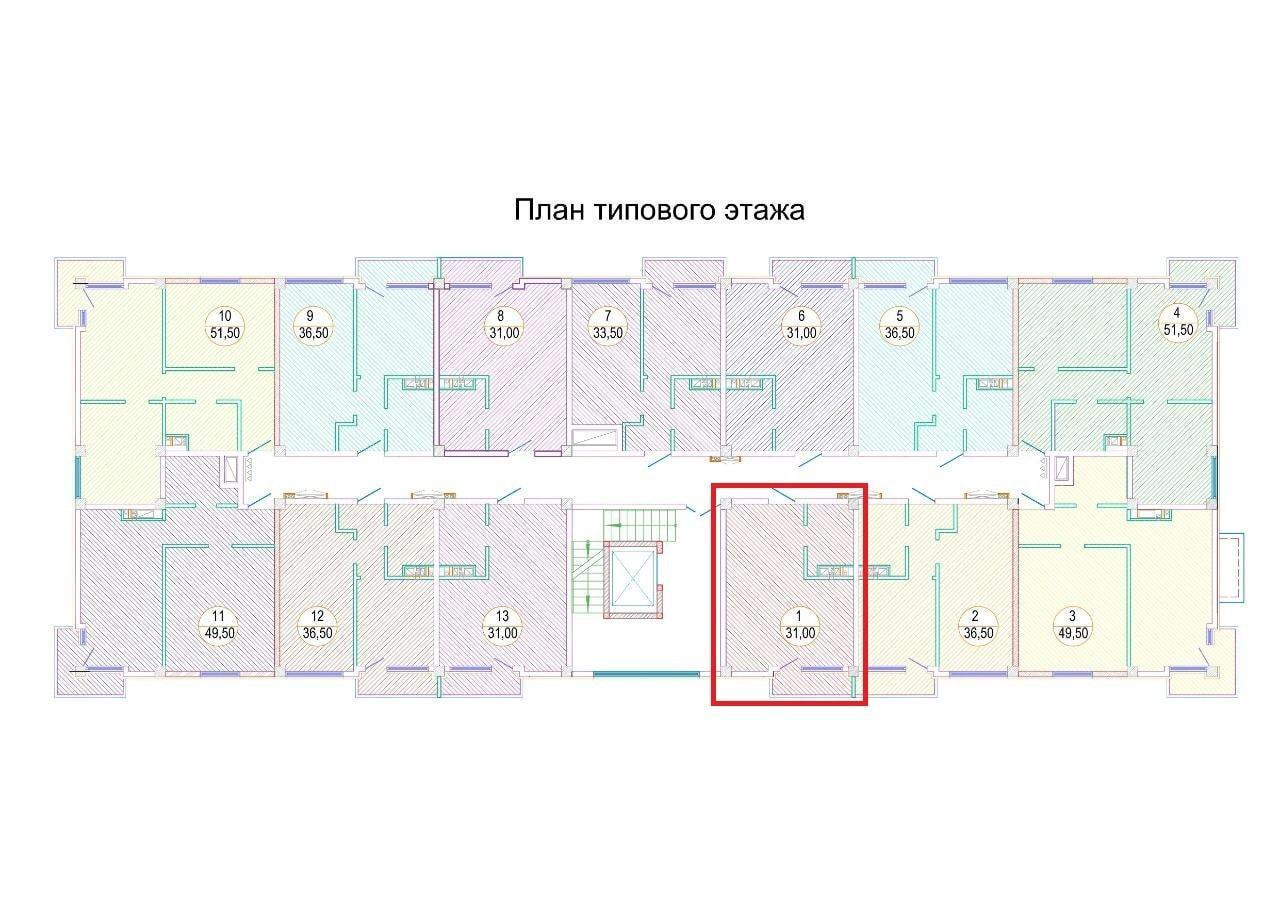 План типового этажа ЖК Каньон-3, студия 31 кв. метр