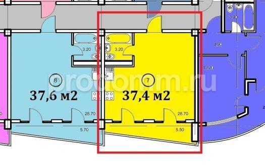 Планировка квартиры 37,4 кв м Крымский апартотель
